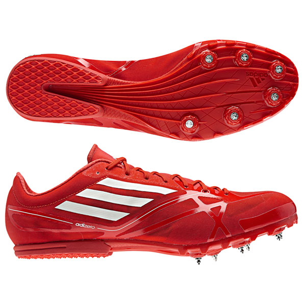 Details about Adidas Adizero Md Shoes Athletics Red White Jogging + Spikes New Unisex
